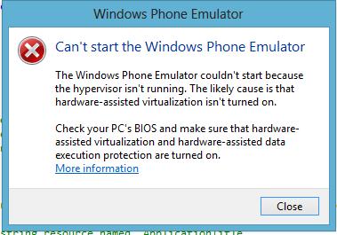 Windows phone emulator does not start, says Hypervisor is not running.