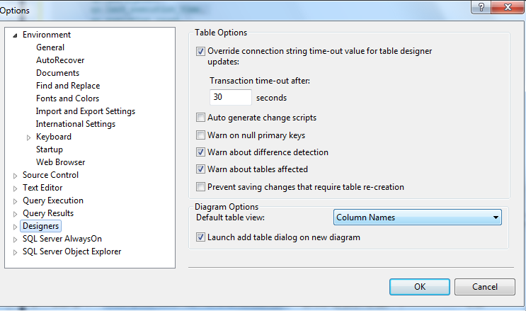 Object explorer hangs when we expand databases tab from ssms of sql in the management studio from the tools menu select options then click designers there is an option called override connection string time out value ccuart Choice Image