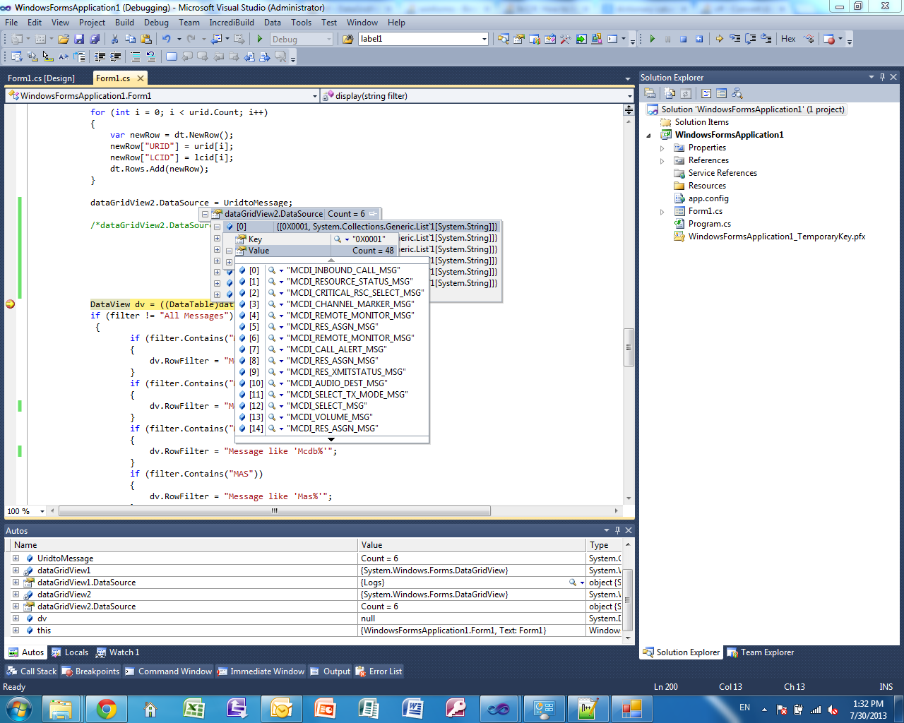 Datagridview and dictionary in windows form for View dictionary