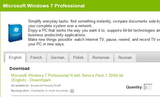 microsoft windows 7 professional upgrade 32/64-bit (english) download