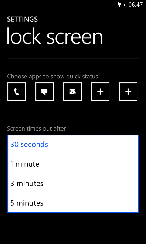 dropdown list like windows phone 8 lock screen times out options which asks for timing. Black Bedroom Furniture Sets. Home Design Ideas