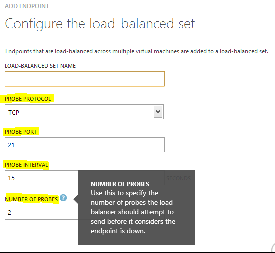 Add Endpoint - Configure the load-balanced set