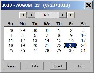 Excel 2013 Popup Calendar