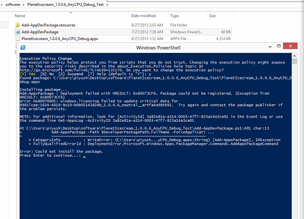 scrrenshot of powershell