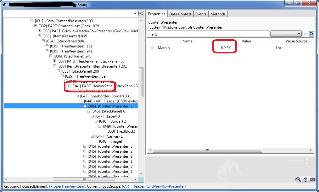 snoop screen shot: margins in gridviewrowpresenters contentpresenters of treeviewitem control template