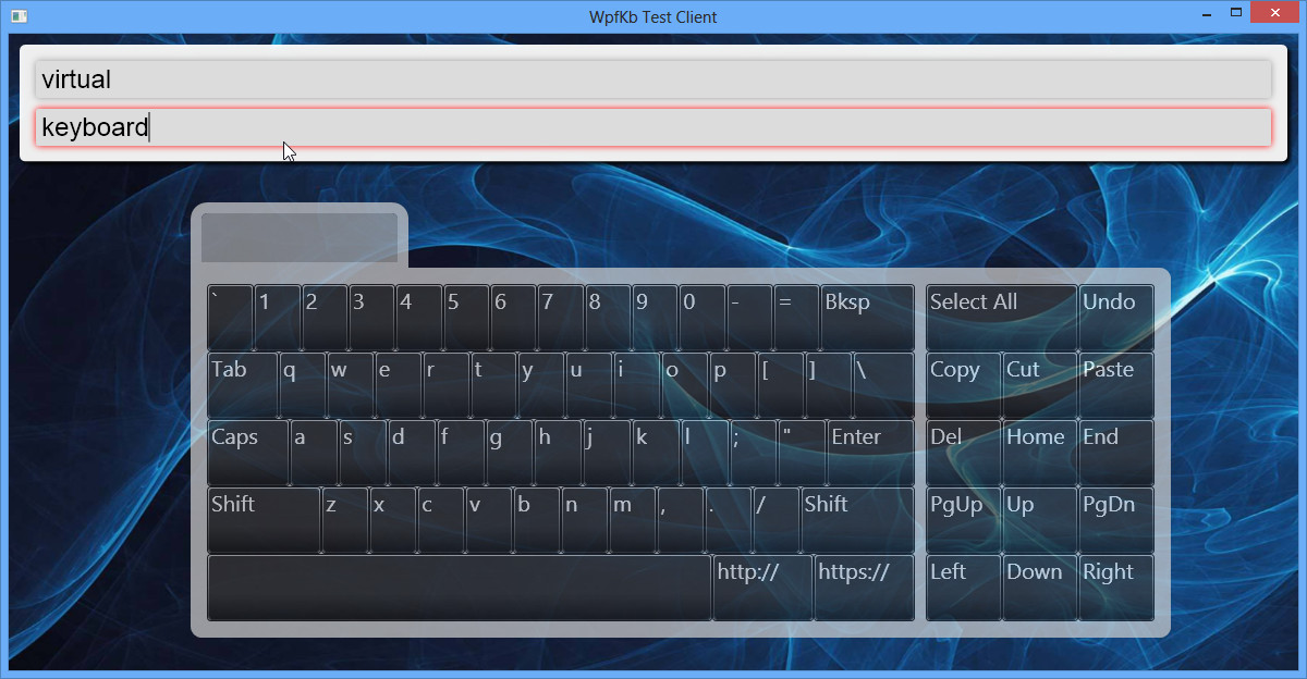 On screen keyboard control API for wpf