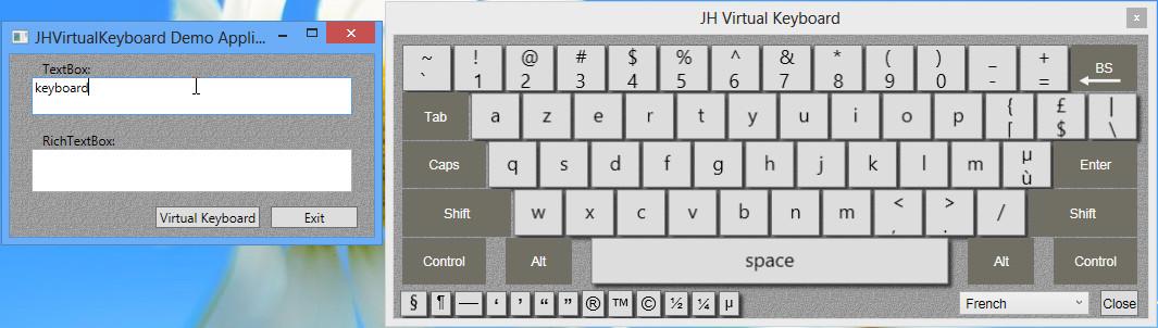 On screen keyboard control API for wpf