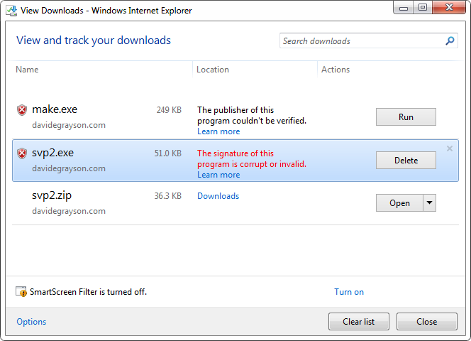 Why does IE10 tell my users that my executable download