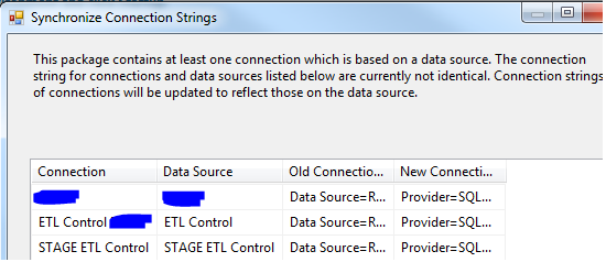 Synchronize Connection Strings Warning