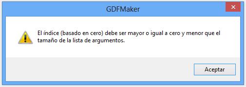 Error en la herramienta GDF Maker