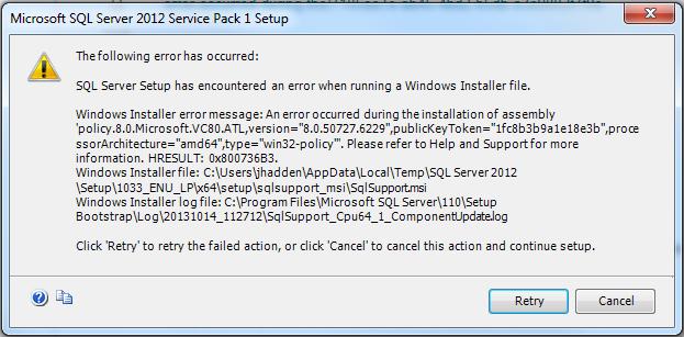 SQL Server 2012 Install Failure