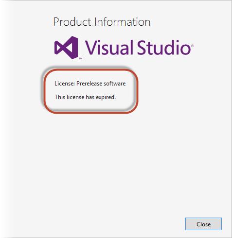 visual studio 2013 license key expired