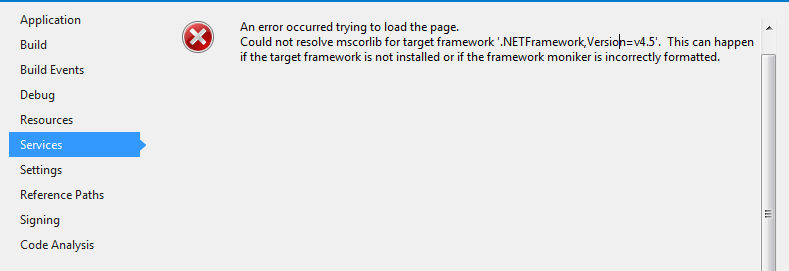 Error in project configuration editor