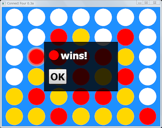 Screen shot of a program Connect Four 0.3a