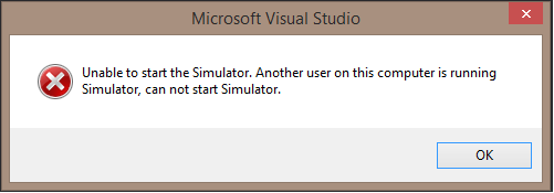 Unable to start the Simulator. Another user on this computer is running Simulator, can not start Simulator.