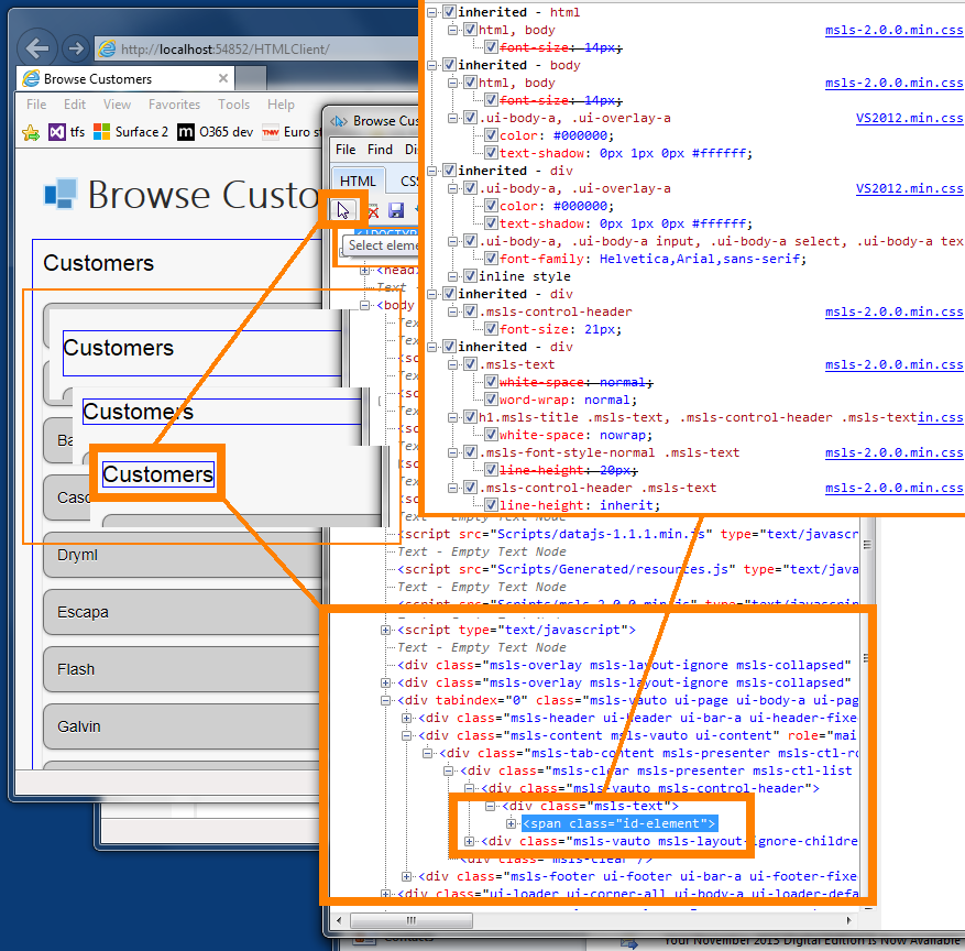 Uisng IE F12 Dev Tools to navigate the DOM