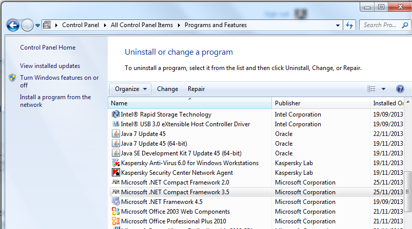 Installed .NET Compact Frameworks 2.0 and 3.5