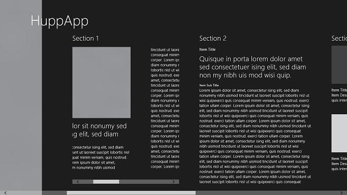 define a multi column horizontally scrolling article inside a hub template. Black Bedroom Furniture Sets. Home Design Ideas