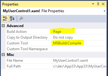 File properties: Build Action Page, Custom Tool MSBuild: Compile