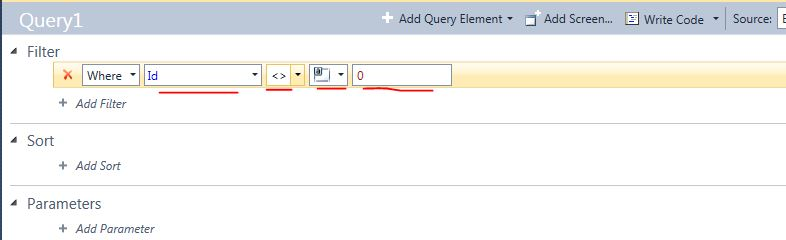 VS LightSwitch Query Page