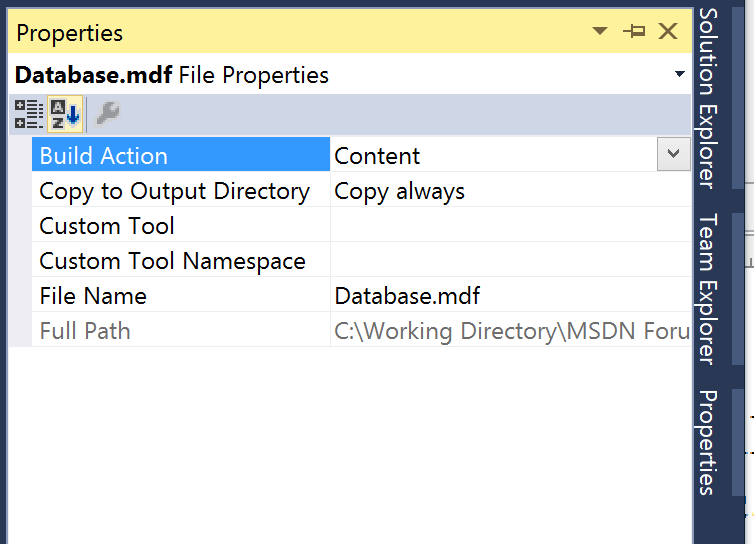 Copy to Output Directory : Property of Database file