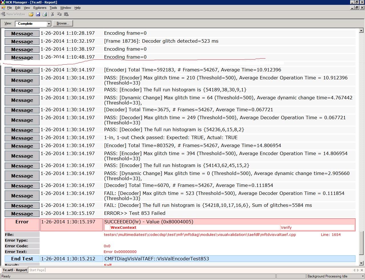 h264 encoder hmft visval test 801 802 853 problem