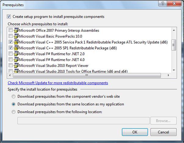 microsoft visual c++ 2005 redistributable installation directory
