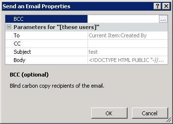 SPD Send Email Advanced Properties Screenshot