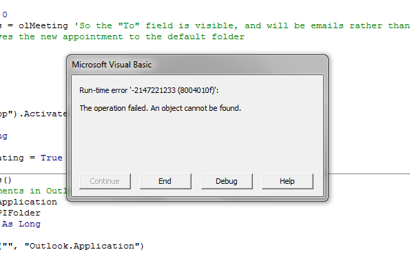 Runtime Error 2147221233 804010f Excel Vba For Outlook Appointement