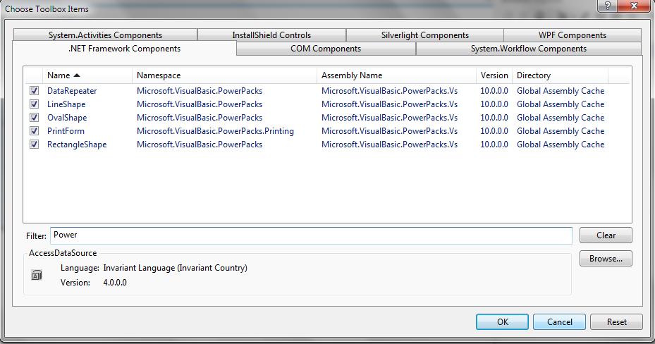 microsoft visual basic power packs version 10.0.0.0
