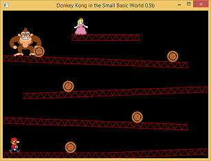 Screen shot of a program Donkey Kong in the Small Basic World 0.5b