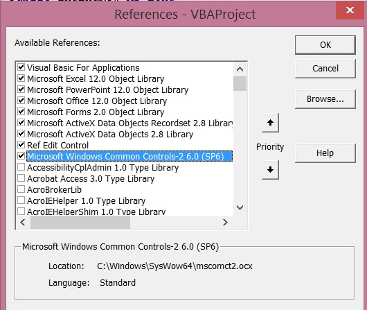 Excel 2013 VBA references