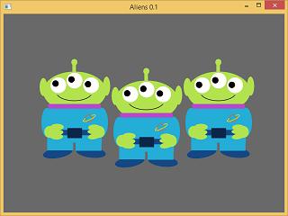 Screen shot of a program Aliens 0.1