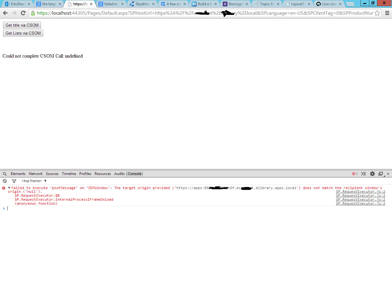 Failed to execute 'postMessage' on 'DOMWindow':