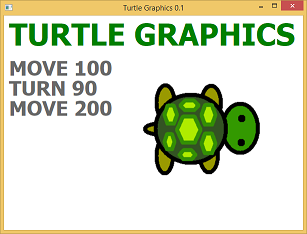 Opening screen shot of a program Turtle Graphics 0.1