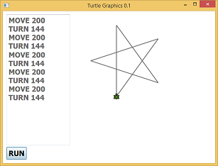Running screen shot of a program Turtle Graphics 0.1