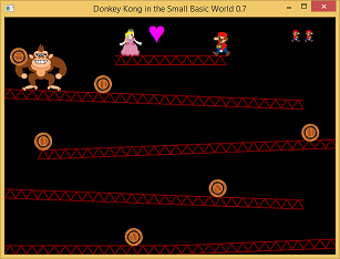 Screen shot of a program DONKEY KONG in the Small Basic World 0.7