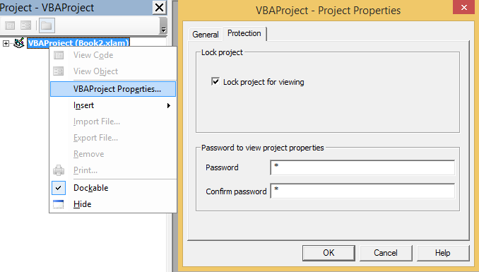 How to password-protect VBA (macros) code inside  xlam (Add