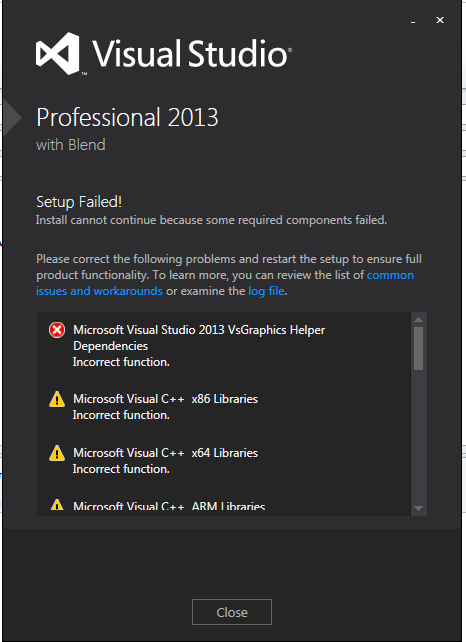 microsoft visual studio 2013 vsgraphics helper dependencies incorrect function
