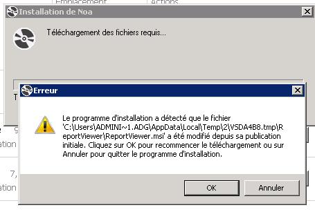 Le programme d'installation a détecté que le fichier ... ReportViewer.msi a été modifé depuis sa publication initiale. Cliquez sur OK pour recommencer le téléchargement ou sur Annuler pour quitter le programme d'installation.