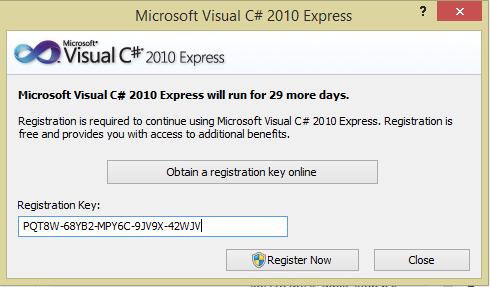 visual c 2010 registration key