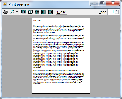 How can I word wrap the text in print preview dialog box