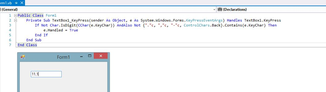 TextBox KeyPress Control for Decimal Number Control using VB