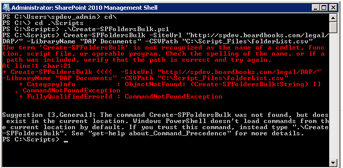 Powershell Script Error, its saying The term is not