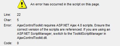 AjaxControlToolKit requires ASP.NET AJAX 4.0 scripts