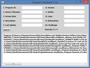 Screen shot of a program Program Database 0.1a