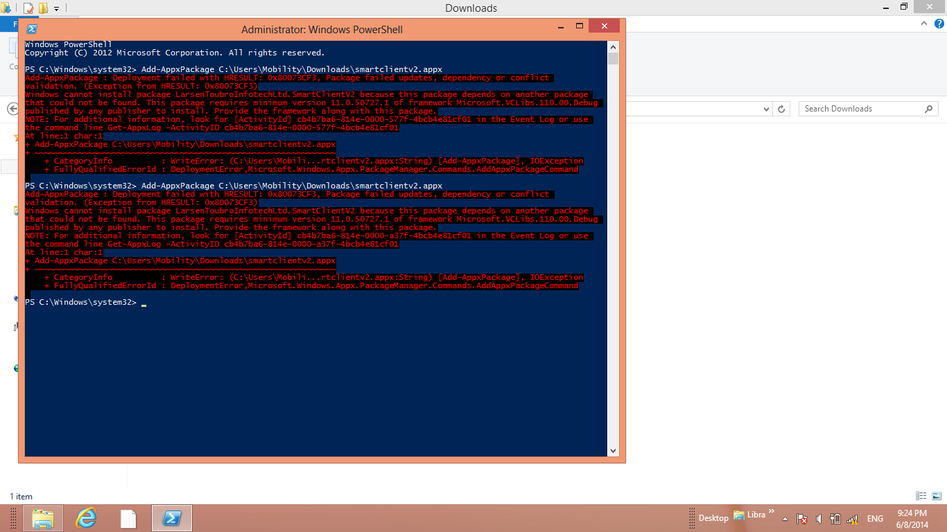 Not able to deploy windows 8 executable( appx) using powershell