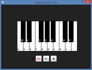 Screen shot of a program Piano Recorder 0.3a