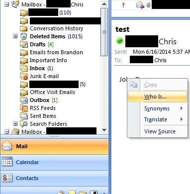 Outlook 2007 'Who Is...' option from right click