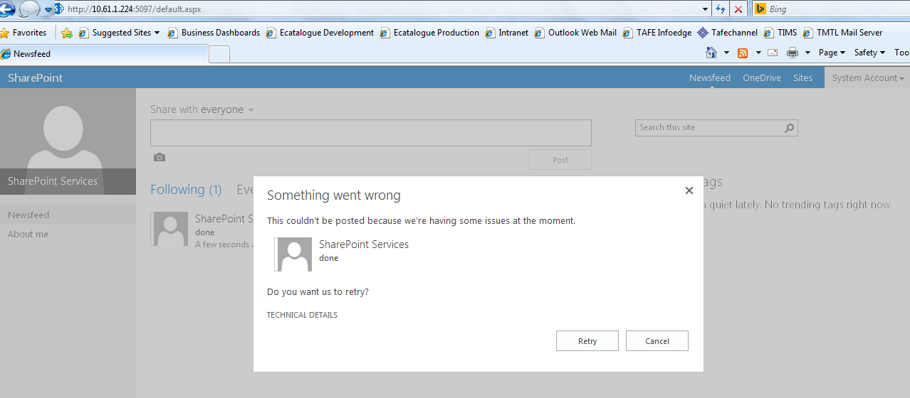 Could not post in newsfeed sharepoint 2013